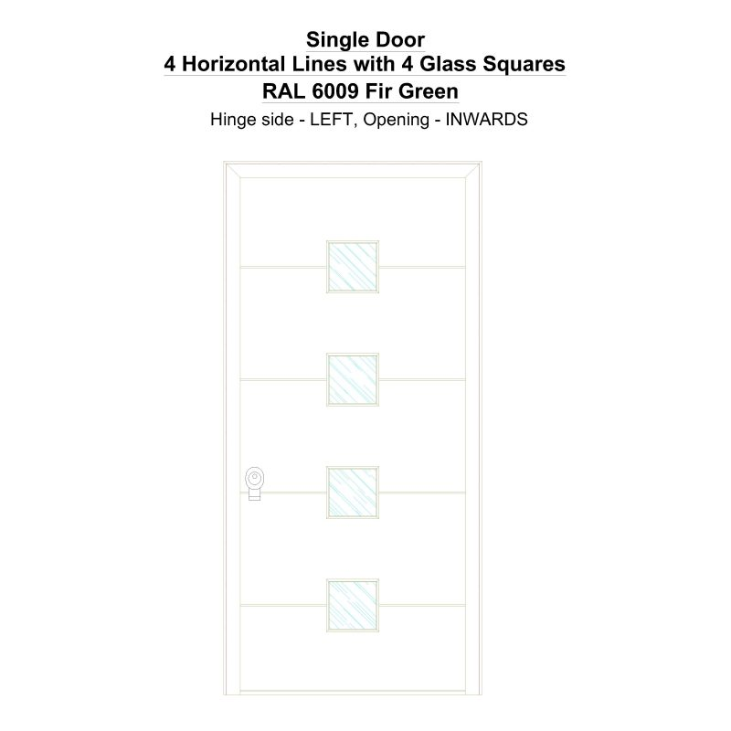 Sd 4 Horizontal Lines With 4 Glass Squares Ral 6009 Fir Green Security Door