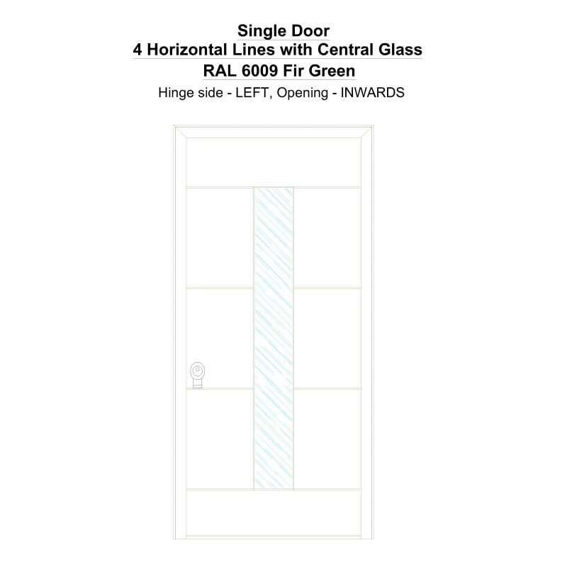 Sd 4 Horizontal Lines With Central Glass Ral 6009 Fir Green Security Door