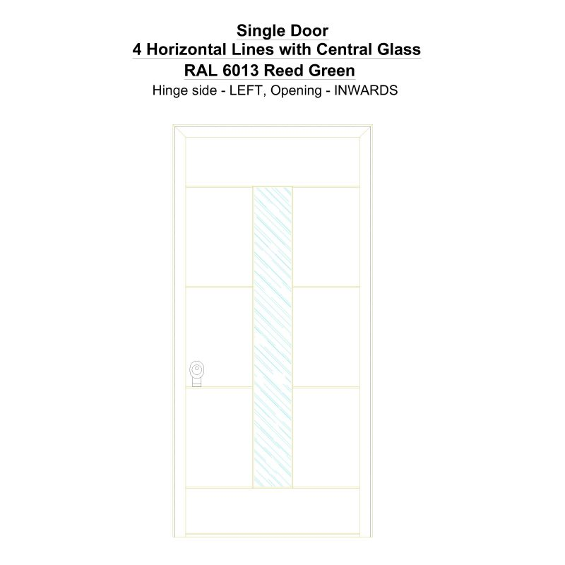 Sd 4 Horizontal Lines With Central Glass Ral 6013 Reed Green Security Door