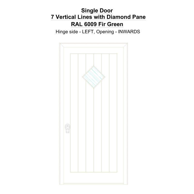 Sd 7 Vertical Lines With Diamond Pane Ral 6009 Fir Green Security Door