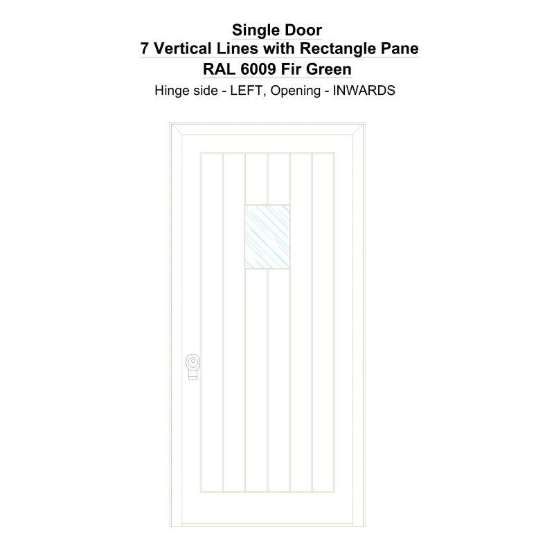 Sd 7 Vertical Lines With Rectangle Pane Ral 6009 Fir Green Security Door