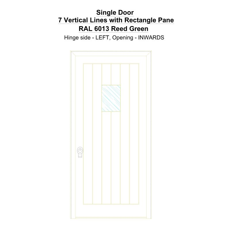 Sd 7 Vertical Lines With Rectangle Pane Ral 6013 Reed Green Security Door
