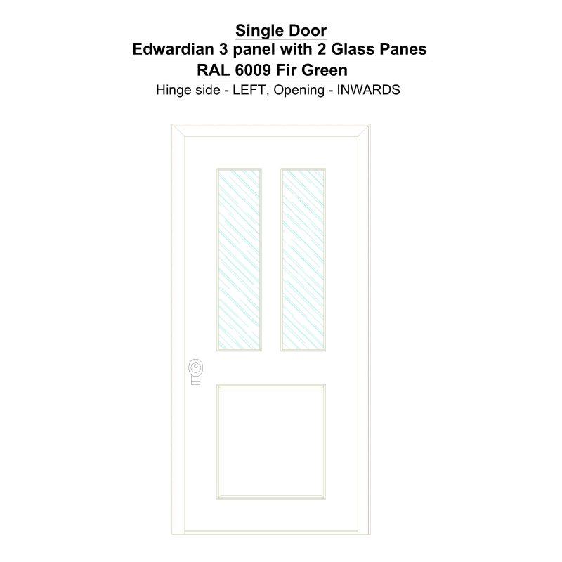 Sd Edwardian 3 Panel With 2 Glass Panes Ral 6009 Fir Green Security Door