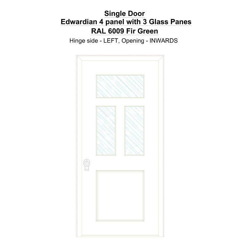 Sd Edwardian 4 Panel With 3 Glass Panes Ral 6009 Fir Green Security Door