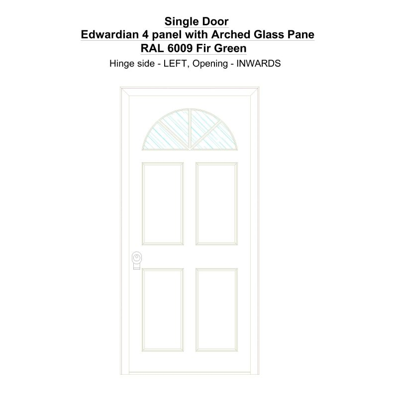 Sd Edwardian 4 Panel With Arched Glass Pane Ral 6009 Fir Green Security Door
