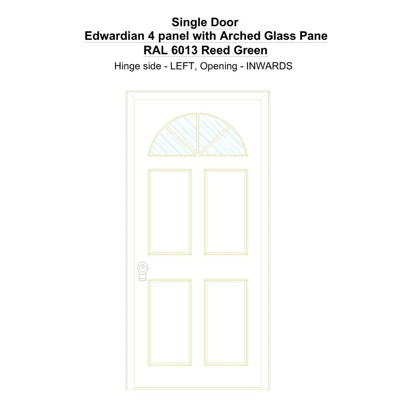 Sd Edwardian 4 Panel With Arched Glass Pane Ral 6013 Reed Green Security Door
