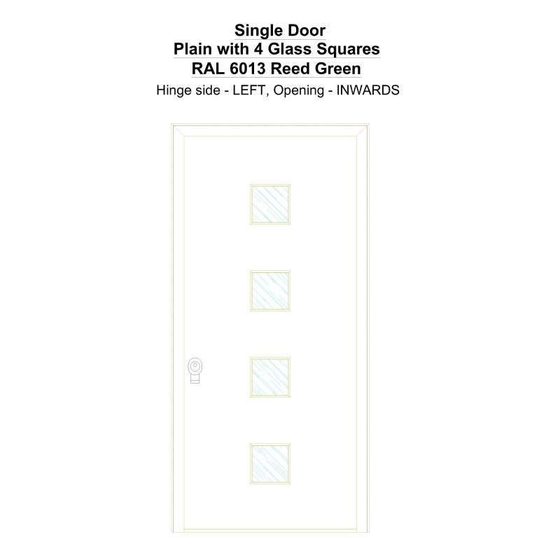 Sd Plain With 4 Glass Squares Ral 6013 Reed Green Security Door