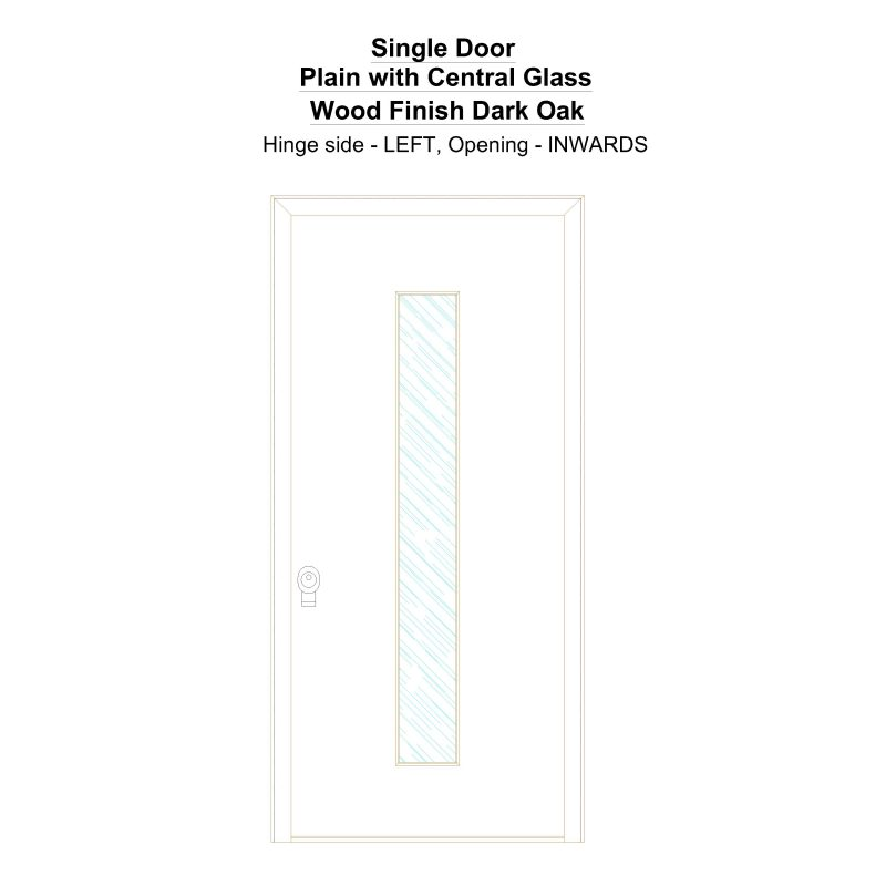 Sd Plain With Central Glass Wood Finish Dark Oak Security Door