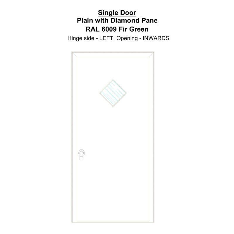 Sd Plain With Diamond Pane Ral 6009 Fir Green Security Door