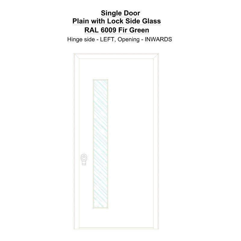Sd Plain With Lock Side Glass Ral 6009 Fir Green Security Door