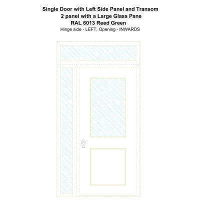 Sd1spt(left) 2 Panel With A Large Glass Pane Ral 6013 Reed Green Security Door