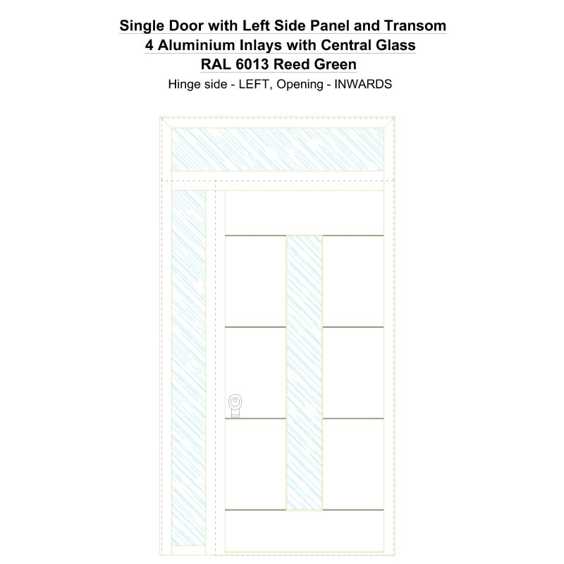 Sd1spt(left) 4 Aluminium Inlays With Central Glass Ral 6013 Reed Green Security Door