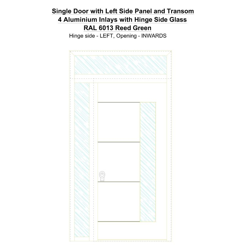Sd1spt(left) 4 Aluminium Inlays With Hinge Side Glass Ral 6013 Reed Green Security Door