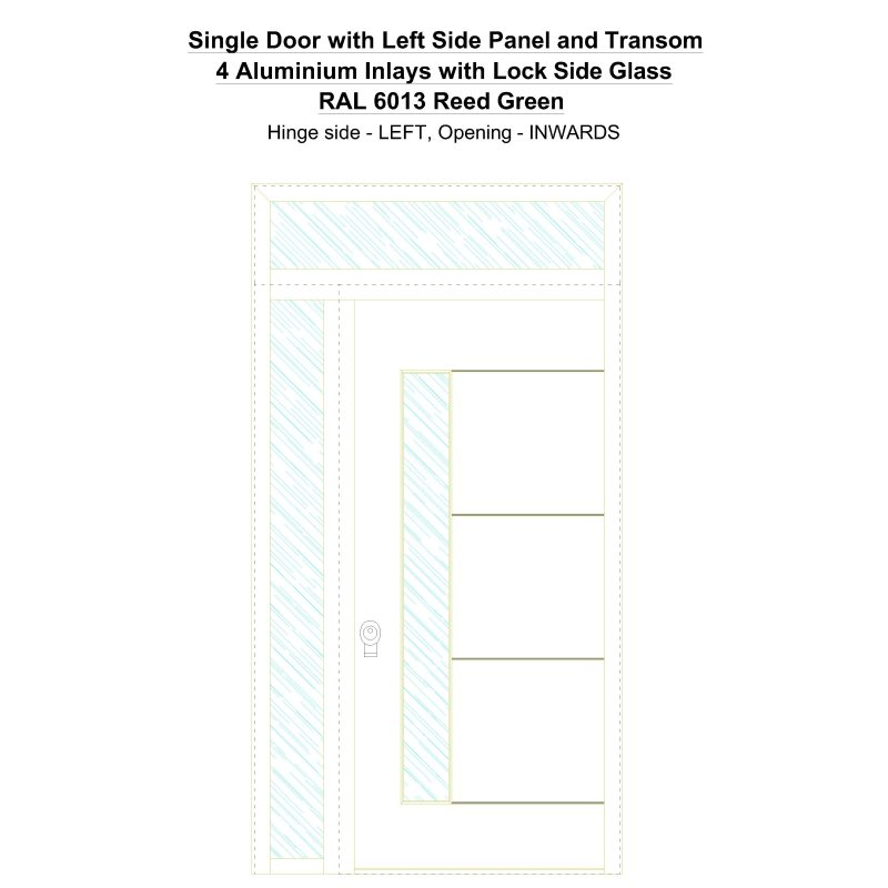 Sd1spt(left) 4 Aluminium Inlays With Lock Side Glass Ral 6013 Reed Green Security Door