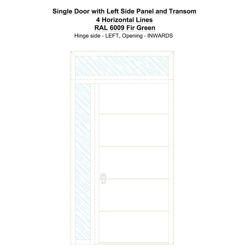 Sd1spt(left) 4 Horizontal Lines Ral 6009 Fir Green Security Door