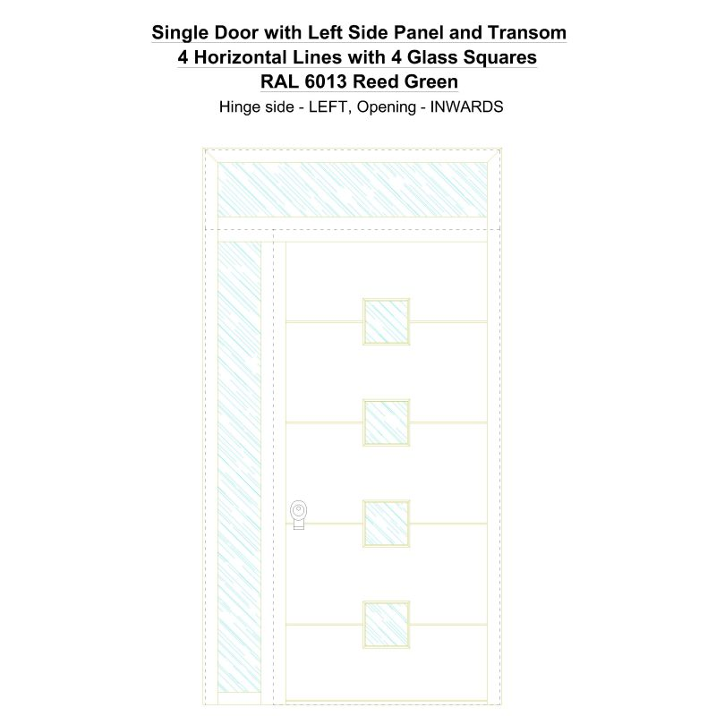Sd1spt(left) 4 Horizontal Lines With 4 Glass Squares Ral 6013 Reed Green Security Door