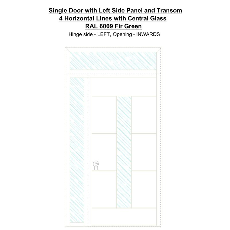 Sd1spt(left) 4 Horizontal Lines With Central Glass Ral 6009 Fir Green Security Door
