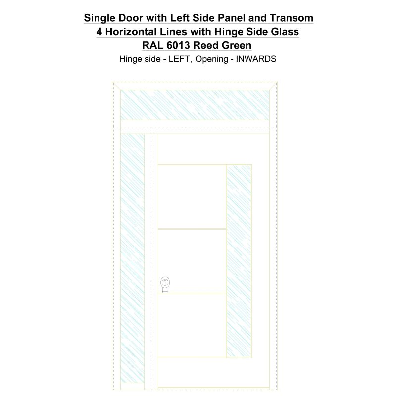 Sd1spt(left) 4 Horizontal Lines With Hinge Side Glass Ral 6013 Reed Green Security Door