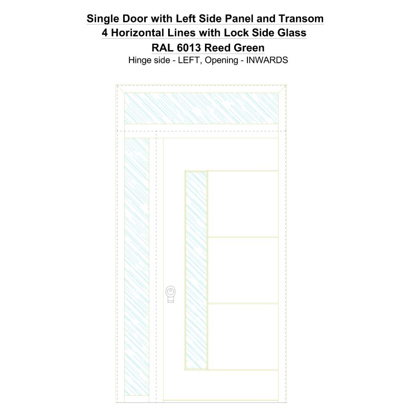 Sd1spt(left) 4 Horizontal Lines With Lock Side Glass Ral 6013 Reed Green Security Door