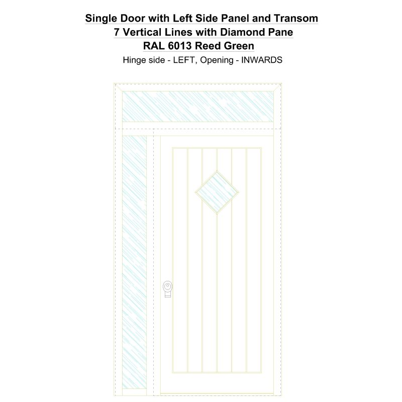 Sd1spt(left) 7 Vertical Lines With Diamond Pane Ral 6013 Reed Green Security Door