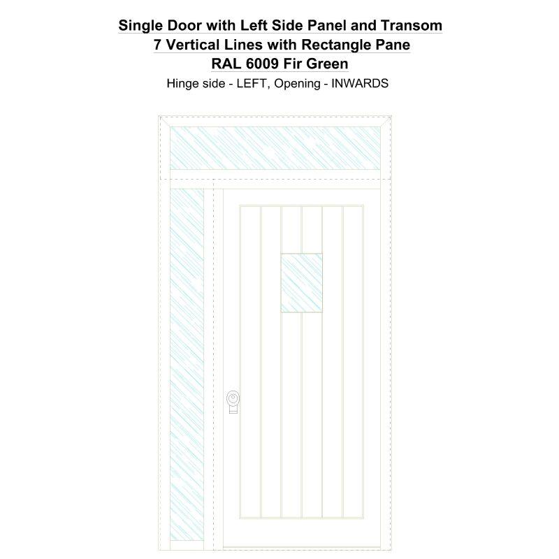 Sd1spt(left) 7 Vertical Lines With Rectangle Pane Ral 6009 Fir Green Security Door
