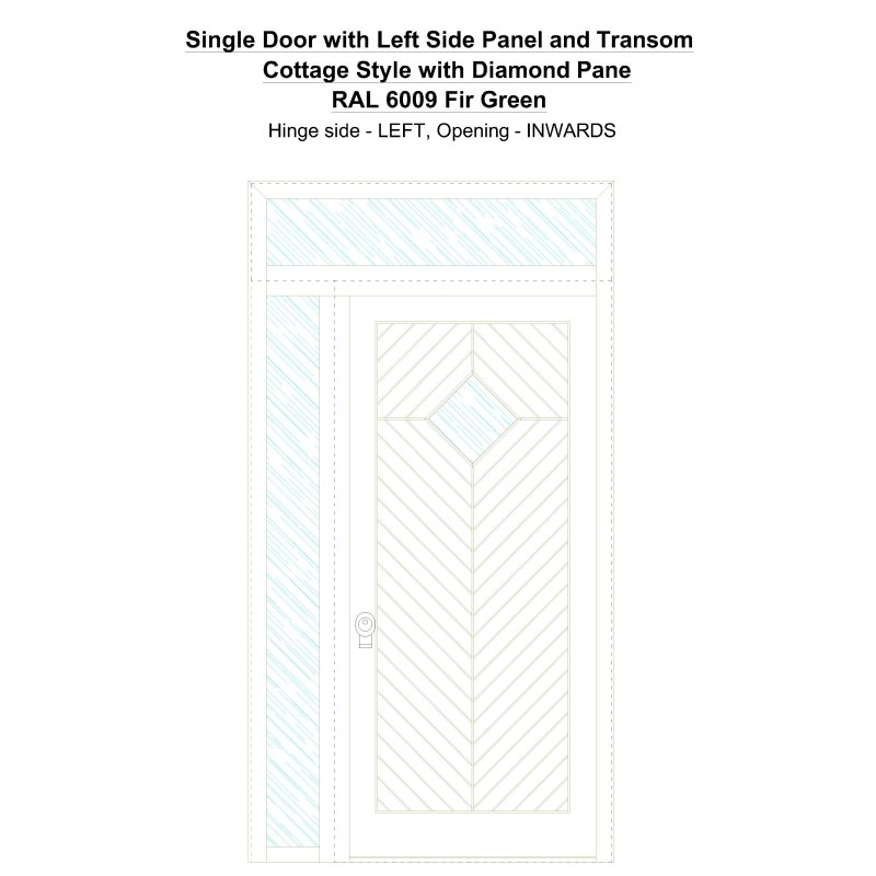 Sd1spt(left) Cottage Style With Diamond Pane Ral 6009 Fir Green Security Door