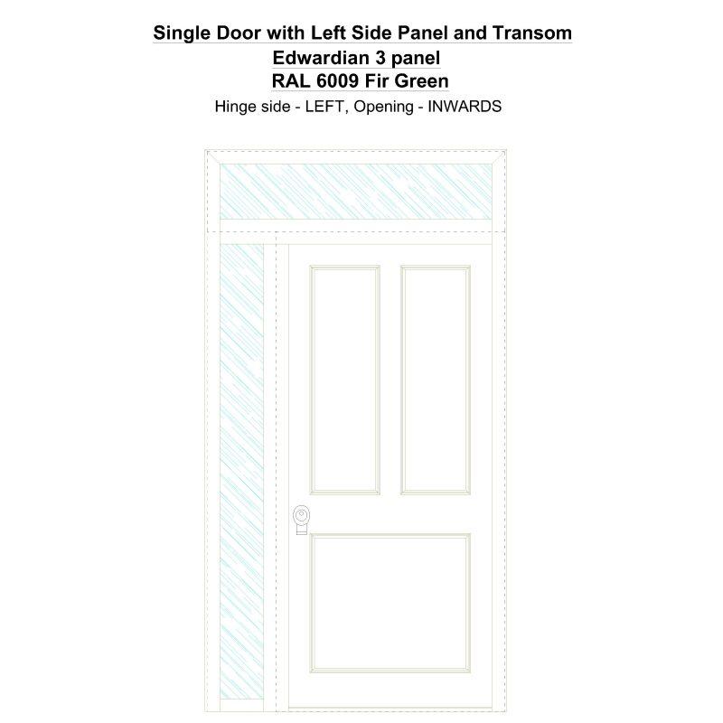 Sd1spt(left) Edwardian 3 Panel Ral 6009 Fir Green Security Door
