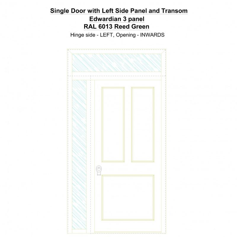 Sd1spt(left) Edwardian 3 Panel Ral 6013 Reed Green Security Door