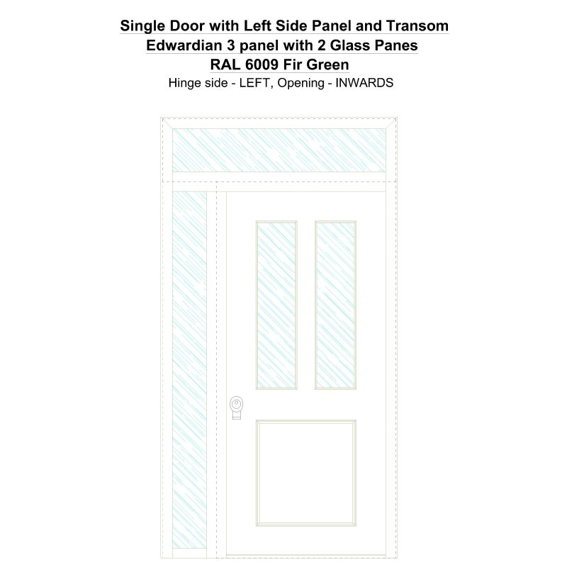 Sd1spt(left) Edwardian 3 Panel With 2 Glass Panes Ral 6009 Fir Green Security Door