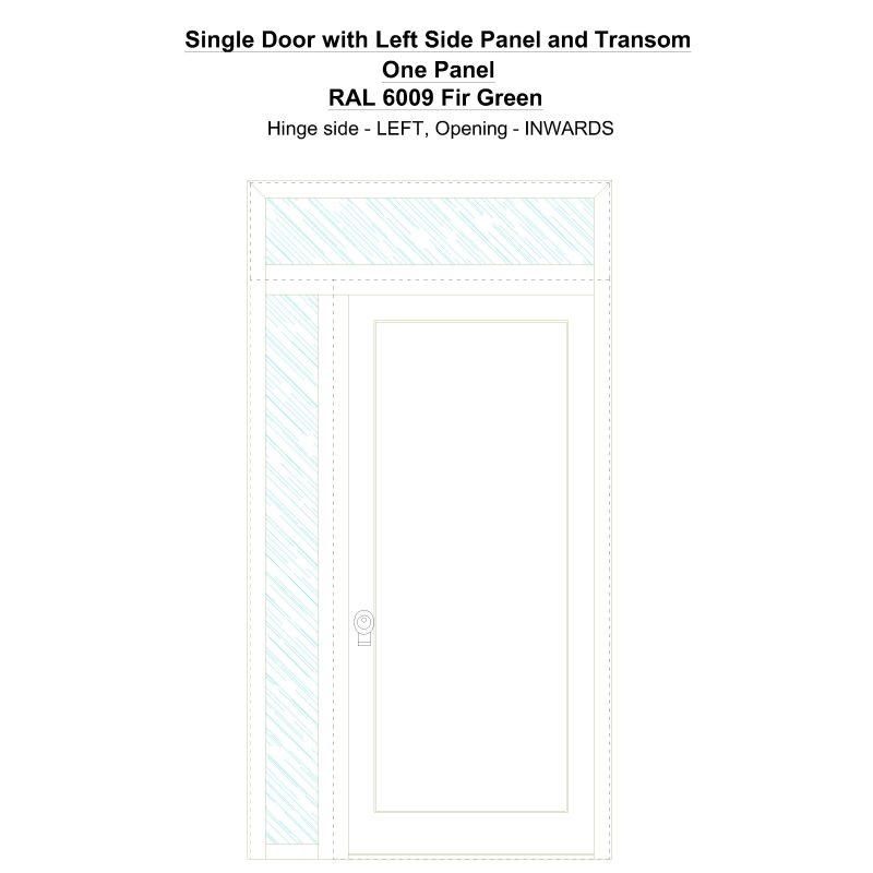 Sd1spt(left) One Panel Ral 6009 Fir Green Security Door