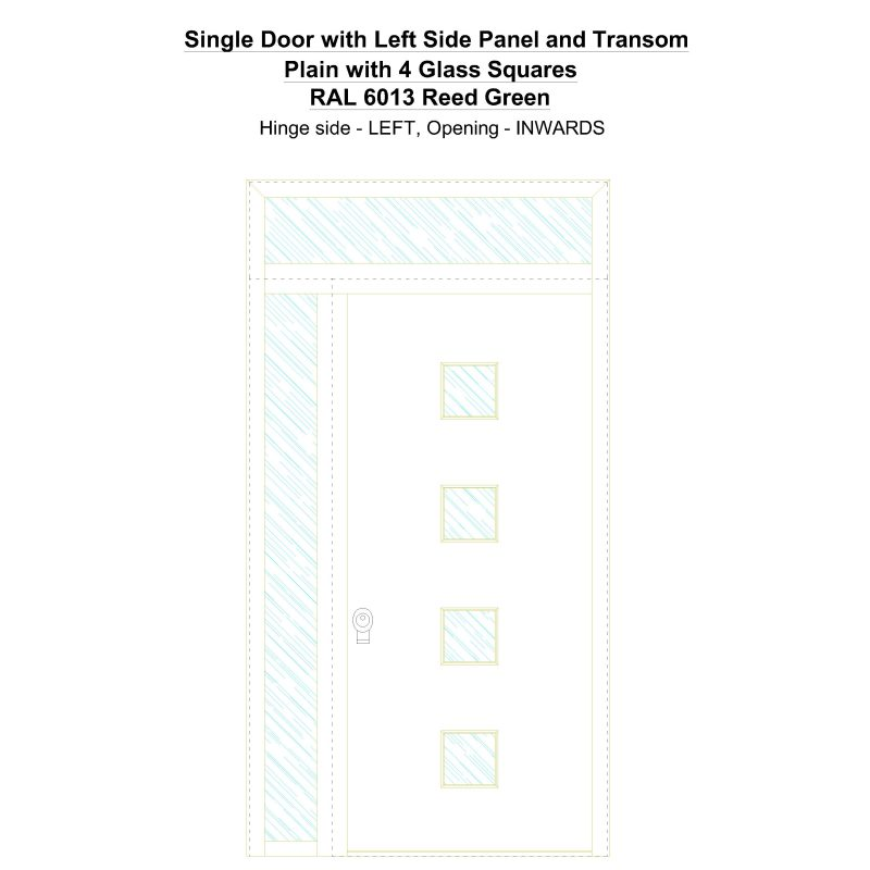 Sd1spt(left) Plain With 4 Glass Squares Ral 6013 Reed Green Security Door