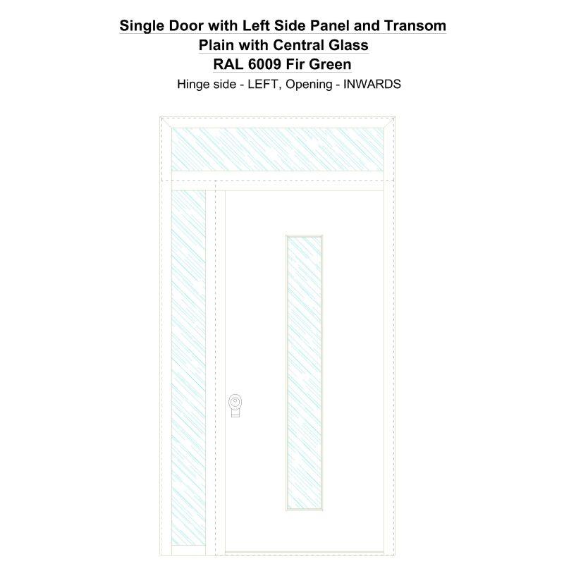 Sd1spt(left) Plain With Central Glass Ral 6009 Fir Green Security Door