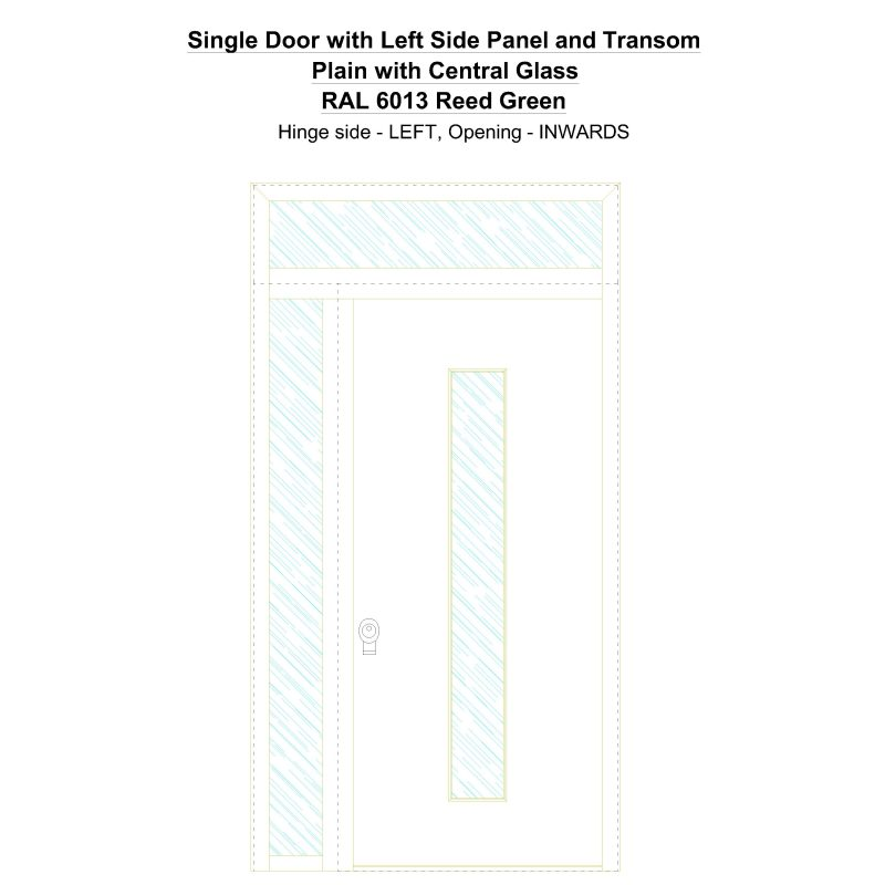 Sd1spt(left) Plain With Central Glass Ral 6013 Reed Green Security Door