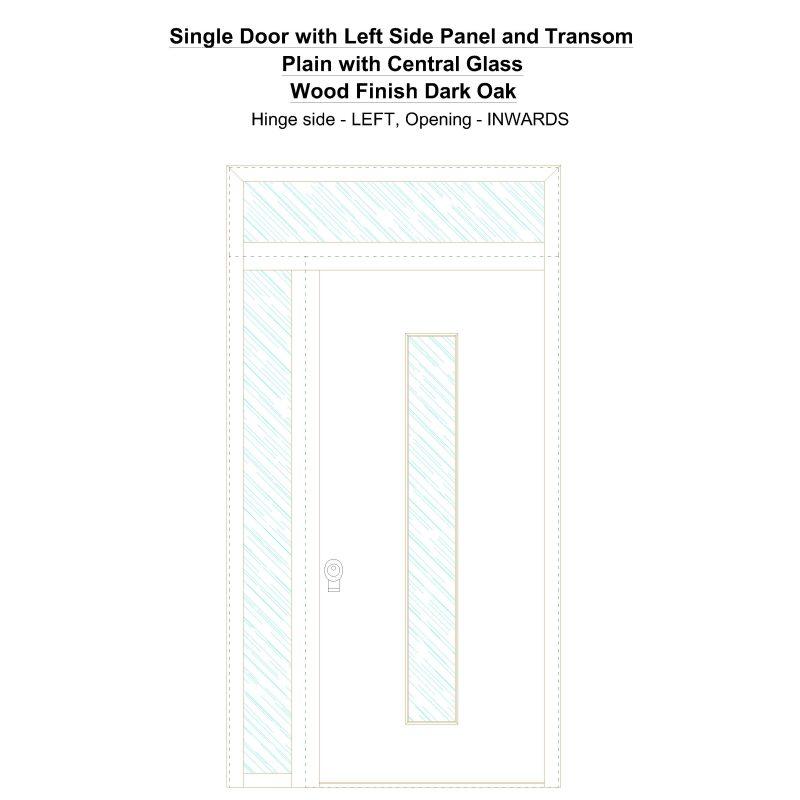 Sd1spt(left) Plain With Central Glass Wood Finish Dark Oak Security Door