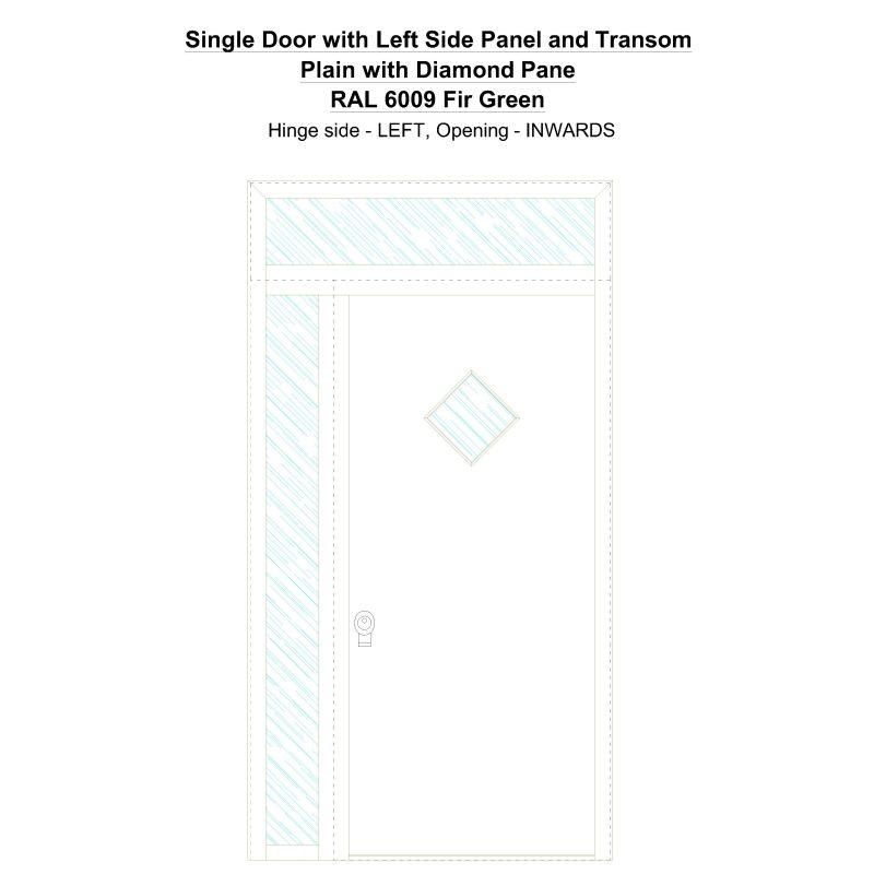 Sd1spt(left) Plain With Diamond Pane Ral 6009 Fir Green Security Door