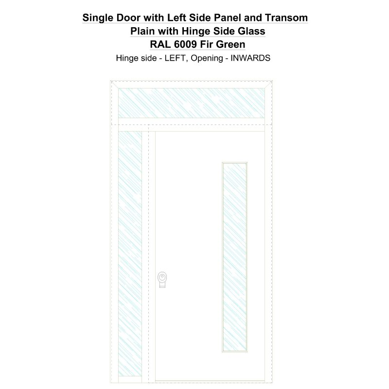 Sd1spt(left) Plain With Hinge Side Glass Ral 6009 Fir Green Security Door