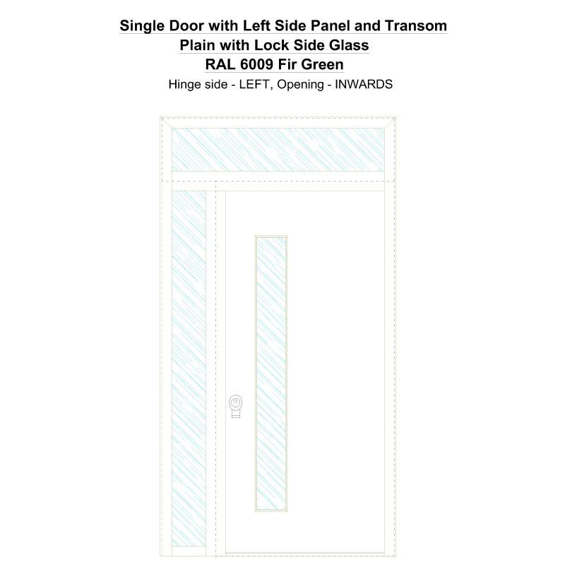 Sd1spt(left) Plain With Lock Side Glass Ral 6009 Fir Green Security Door