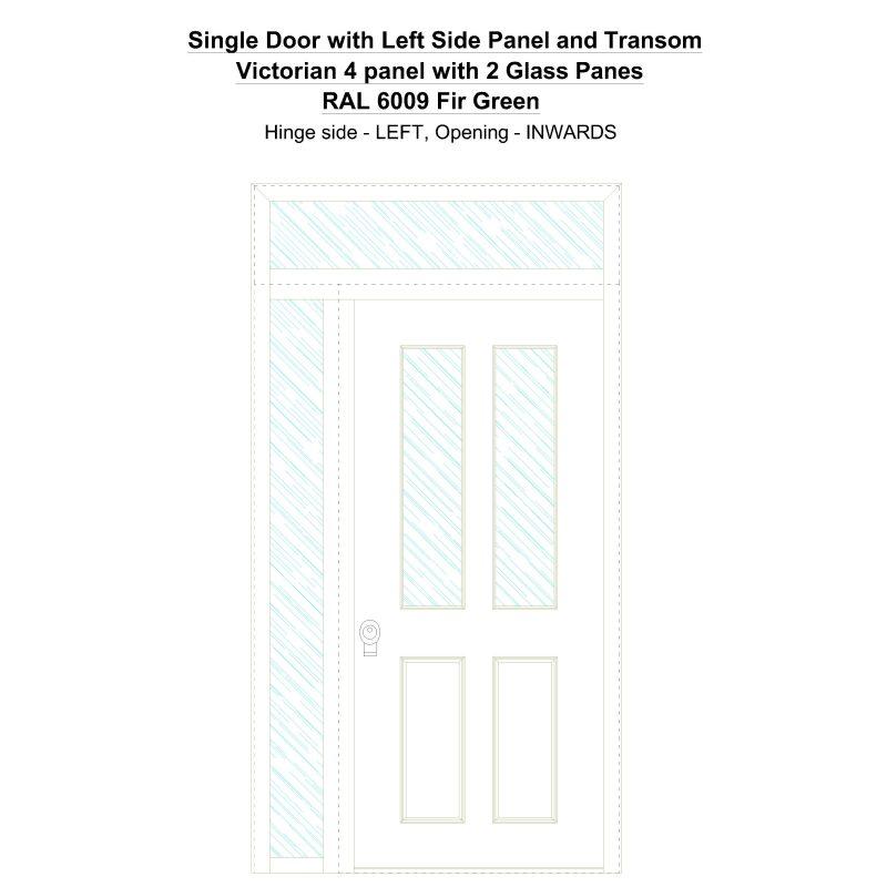 Sd1spt(left) Victorian 4 Panel With 2 Glass Panes Ral 6009 Fir Green Security Door