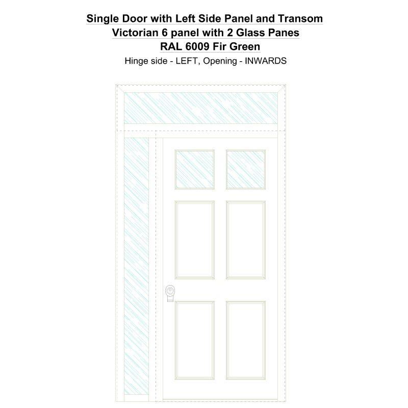 Sd1spt(left) Victorian 6 Panel With 2 Glass Panes Ral 6009 Fir Green Security Door