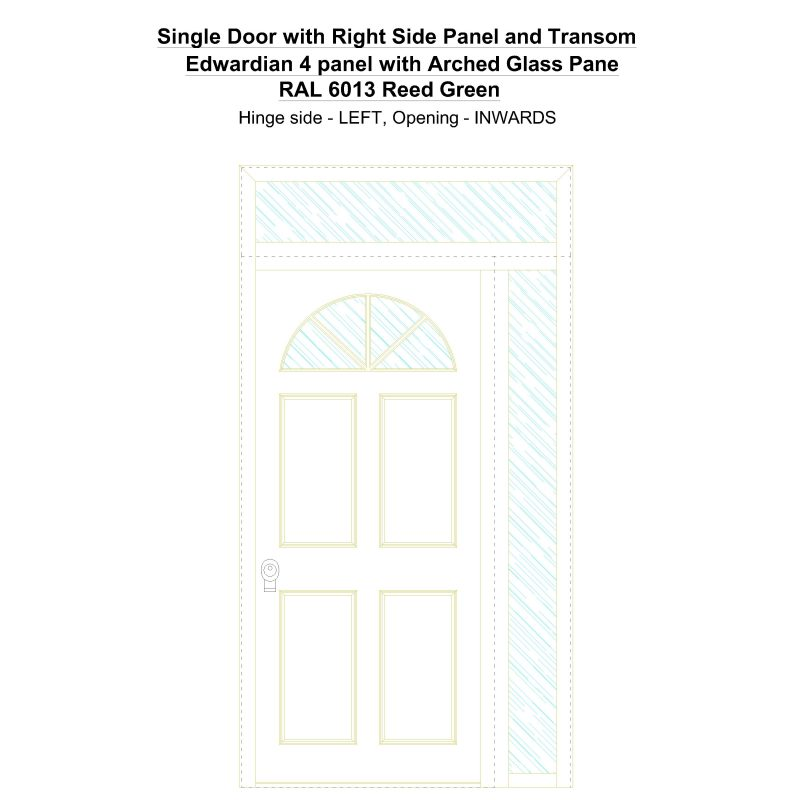 Sd1spt(right) Edwardian 4 Panel With Arched Glass Pane Ral 6013 Reed Green Security Door