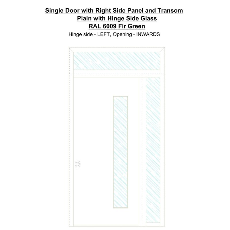 Sd1spt(right) Plain With Hinge Side Glass Ral 6009 Fir Green Security Door