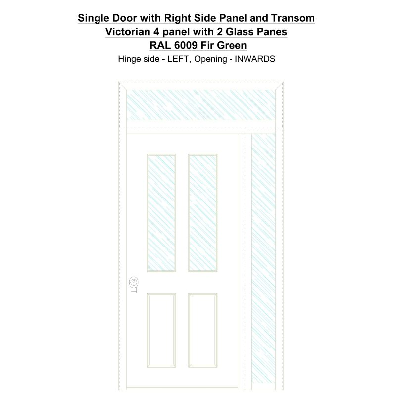 Sd1spt(right) Victorian 4 Panel With 2 Glass Panes Ral 6009 Fir Green Security Door