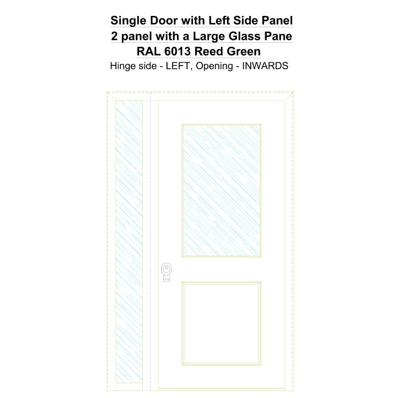 Sd1sp(left) 2 Panel With A Large Glass Pane Ral 6013 Reed Green Security Door