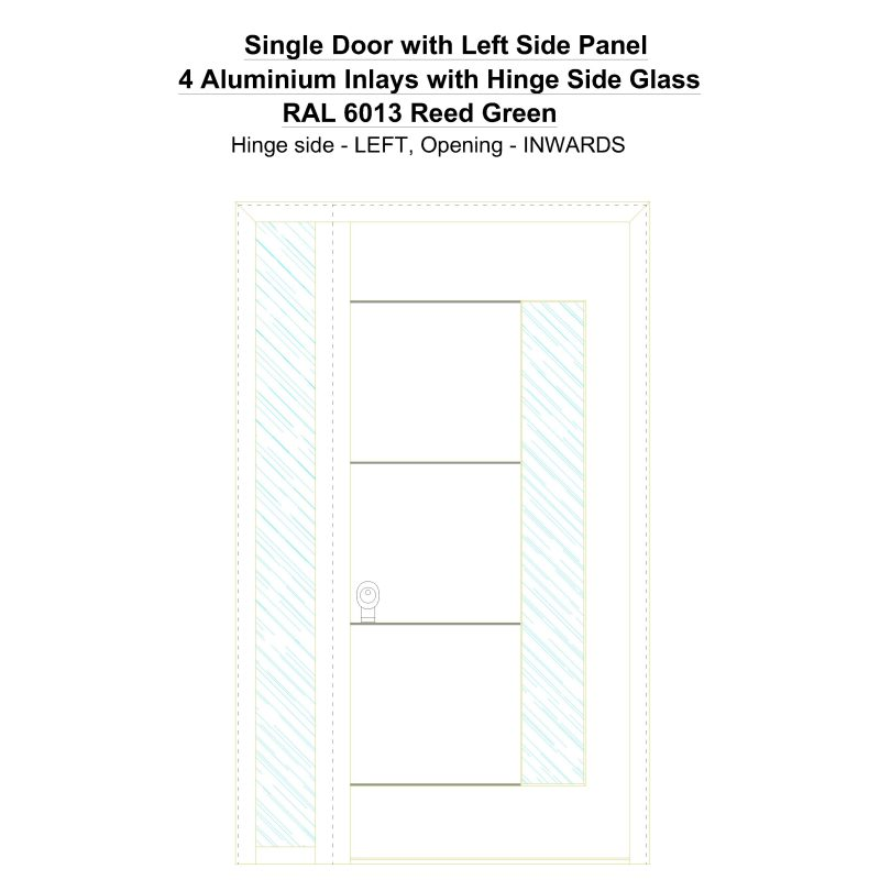 Sd1sp(left) 4 Aluminium Inlays With Hinge Side Glass Ral 6013 Reed Green Security Door