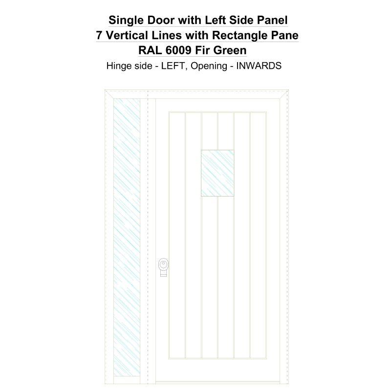 Sd1sp(left) 7 Vertical Lines With Rectangle Pane Ral 6009 Fir Green Security Door