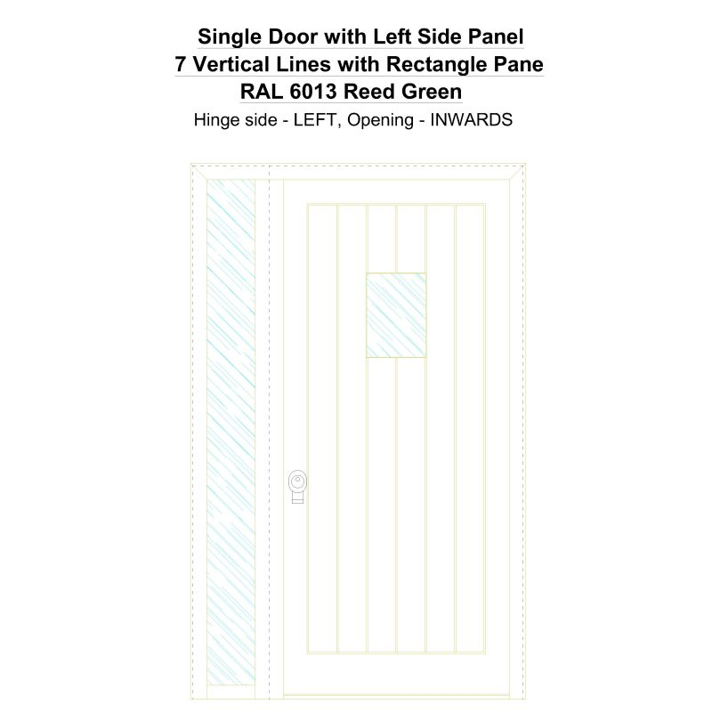 Sd1sp(left) 7 Vertical Lines With Rectangle Pane Ral 6013 Reed Green Security Door