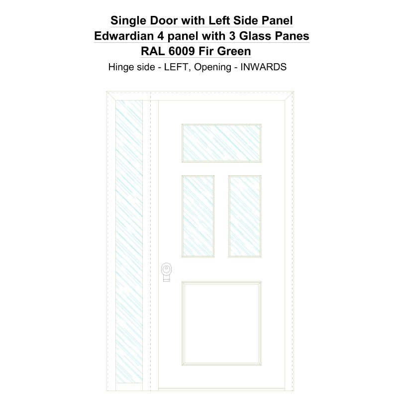 Sd1sp(left) Edwardian 4 Panel With 3 Glass Panes Ral 6009 Fir Green Security Door