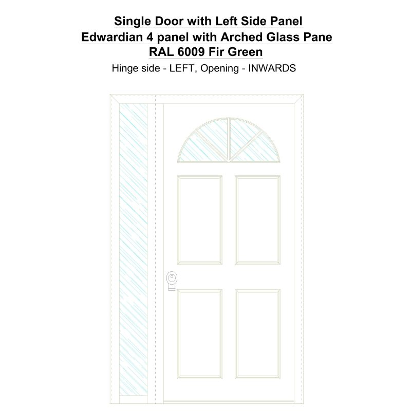 Sd1sp(left) Edwardian 4 Panel With Arched Glass Pane Ral 6009 Fir Green Security Door