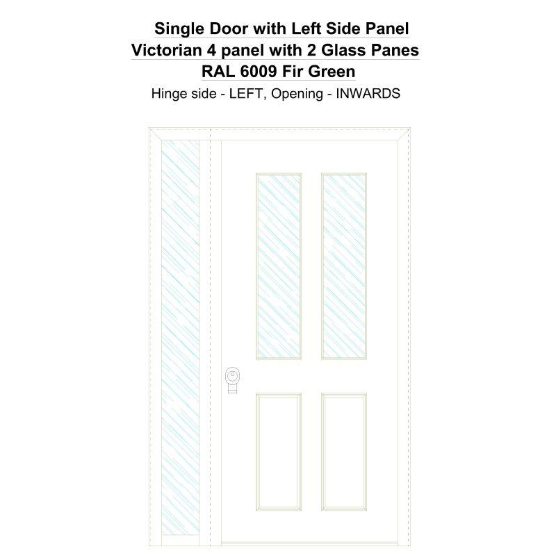 Sd1sp(left) Victorian 4 Panel With 2 Glass Panes Ral 6009 Fir Green Security Door