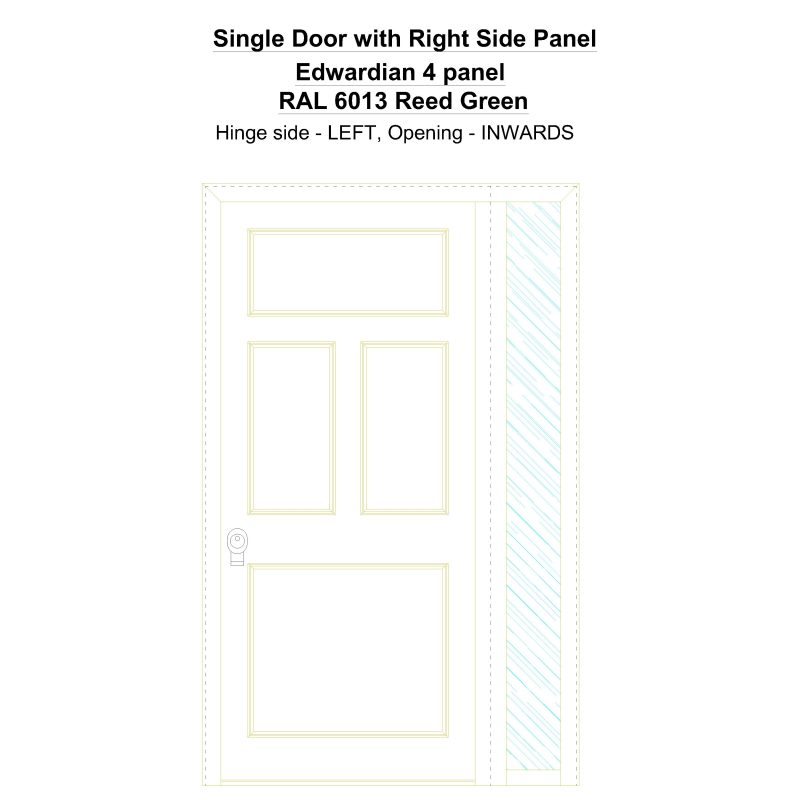 Sd1sp(right) Edwardian 4 Panel Ral 6013 Reed Green Security Door